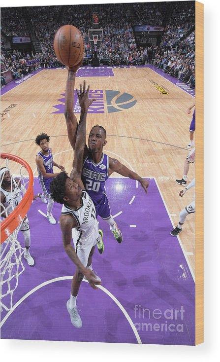 Nba Pro Basketball Wood Print featuring the photograph Brooklyn Nets V Sacramento Kings by Rocky Widner