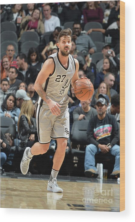 Nicolás Laprovittola Wood Print featuring the photograph Brooklyn Nets V San Antonio Spurs by Mark Sobhani