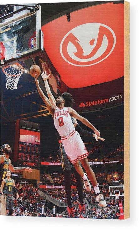 Atlanta Wood Print featuring the photograph Chicago Bulls V Atlanta Hawks by Scott Cunningham