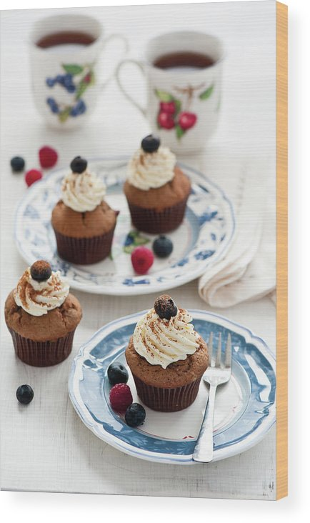 Temptation Wood Print featuring the photograph Chocolate Muffins With Berries by Verdina Anna