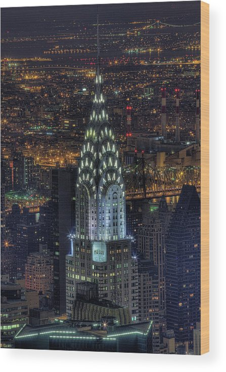 Outdoors Wood Print featuring the photograph Chrysler Building At Night by Jason Pierce Photography (jasonpiercephotography.com)