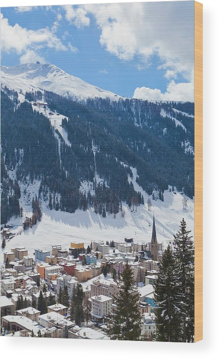 Snow Wood Print featuring the photograph Cityscape Of Davos, Grisons, Switzerland by Werner Dieterich