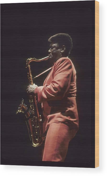 1980-1989 Wood Print featuring the photograph Clarence Clemons Performs Live With The by Richard Mccaffrey