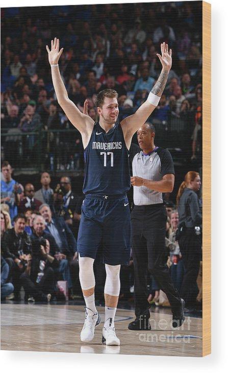 Nba Pro Basketball Wood Print featuring the photograph Cleveland Cavaliers V Dallas Mavericks by Glenn James