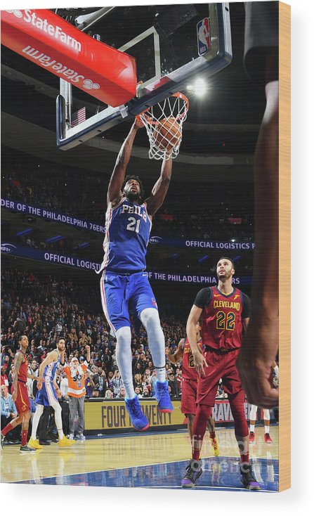Nba Pro Basketball Wood Print featuring the photograph Cleveland Cavaliers V Philadelphia 76ers by Jesse D. Garrabrant