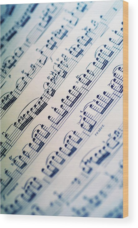 Sheet Music Wood Print featuring the photograph Close-up Of Sheet Music by Medioimages/photodisc