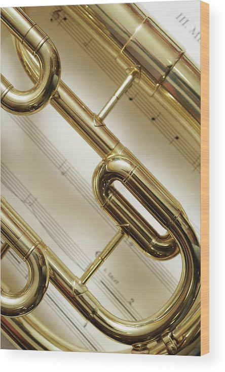 Sheet Music Wood Print featuring the photograph Close-up Of Trumpet by Medioimages/photodisc