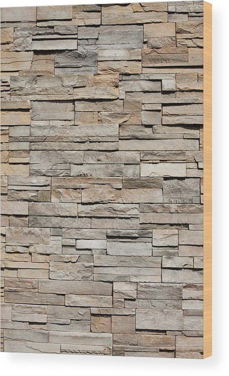 Rectangle Wood Print featuring the photograph Closeup Of A Sandstone Brick Side Of by Carterdayne