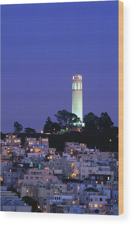 San Francisco Wood Print featuring the photograph Coit Tower, Telegraph Hill At Dusk, San by Thomas Winz