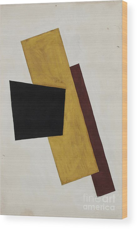 Gouache Wood Print featuring the drawing Composition. Artist Popova, Lyubov by Heritage Images