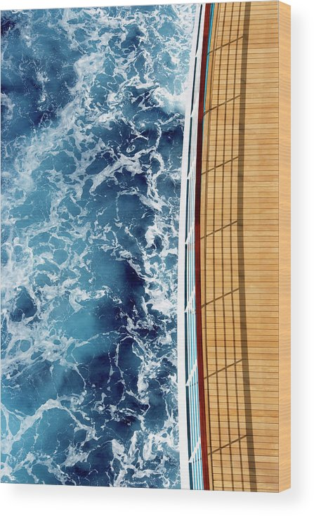 Shadow Wood Print featuring the photograph Cruise Ship And Ocean by David Sacks