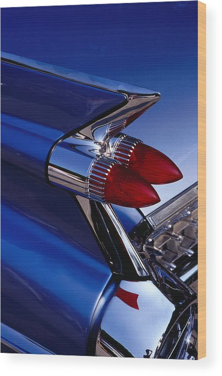 Silver Colored Wood Print featuring the photograph Detail Of An American Cadillac, Eze by Richard I'anson