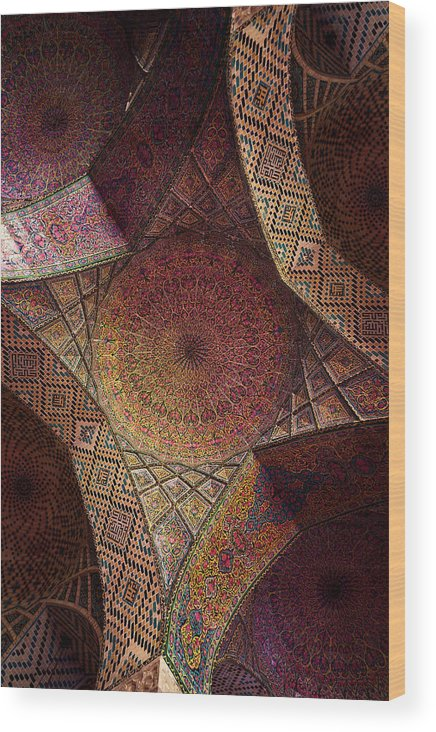 East Wood Print featuring the photograph Detail Of The Ceiling Tilework by Len4foto