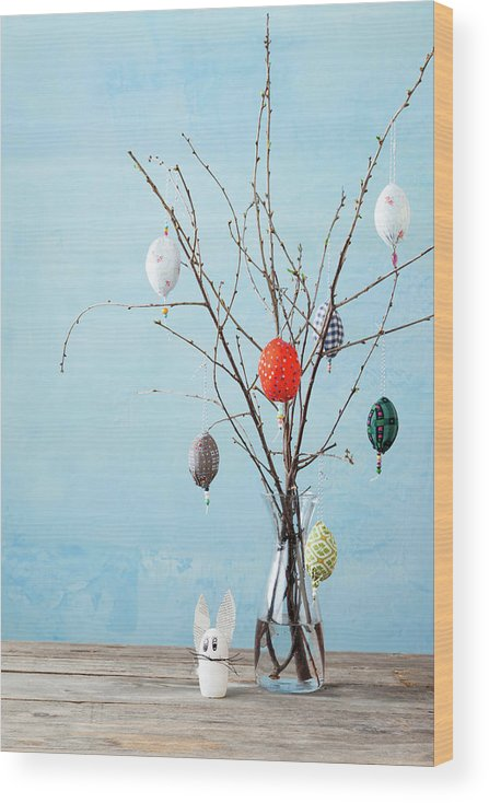 Holiday Wood Print featuring the photograph Egg-shaped Decorations On Branches by Stefanie Grewel