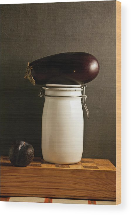 Plum Wood Print featuring the photograph Eggplant, Plum And Jar Still Life by Marilyn Conway