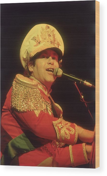 Rock Music Wood Print featuring the photograph Elton John by Keystone