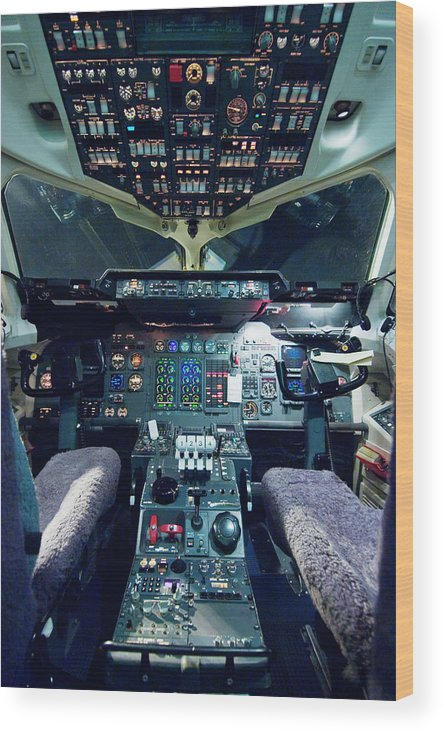 Cockpit Wood Print featuring the photograph Empty Aeroplane Cockpit by Moodboard