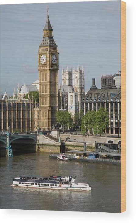 England Wood Print featuring the photograph England, London, Big Ben And Thames by Jerry Driendl