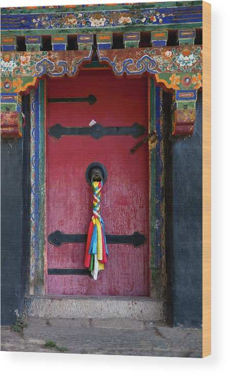 Chinese Culture Wood Print featuring the photograph Entrance To The Tibetan Monastery by Hanhanpeggy
