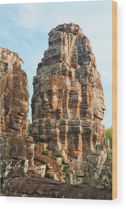 Cambodian Culture Wood Print featuring the photograph Faces On Bayon Temple Cambodia by Leezsnow