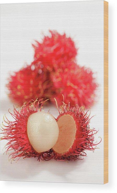 Raw Food Diet Wood Print featuring the photograph Fresh Thai Rambutans by Enviromantic