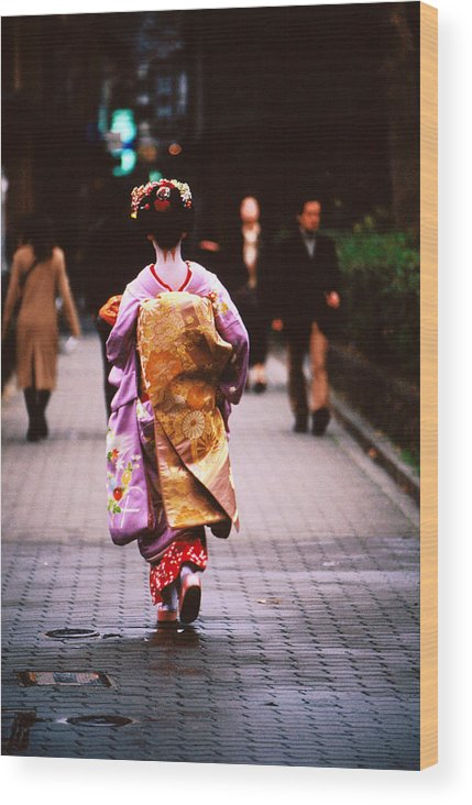 Headwear Wood Print featuring the photograph Geisha In Kimono Walking Away, Pontocho by Lonely Planet