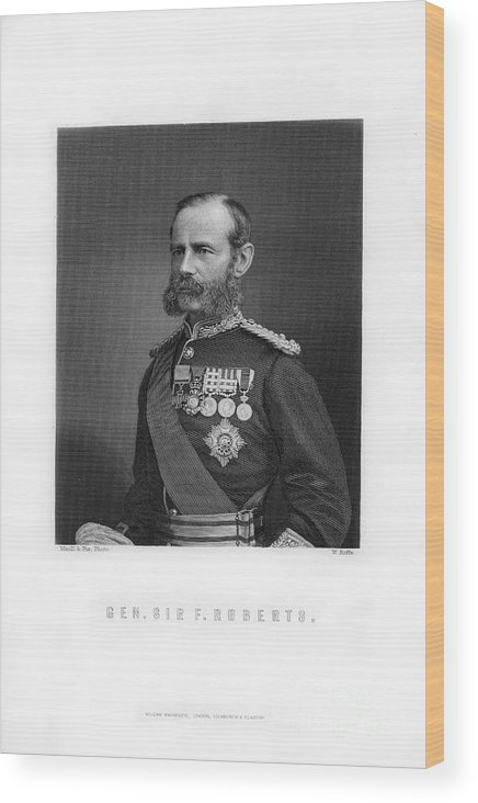 Engraving Wood Print featuring the drawing General Sir Frederick Roberts by Print Collector