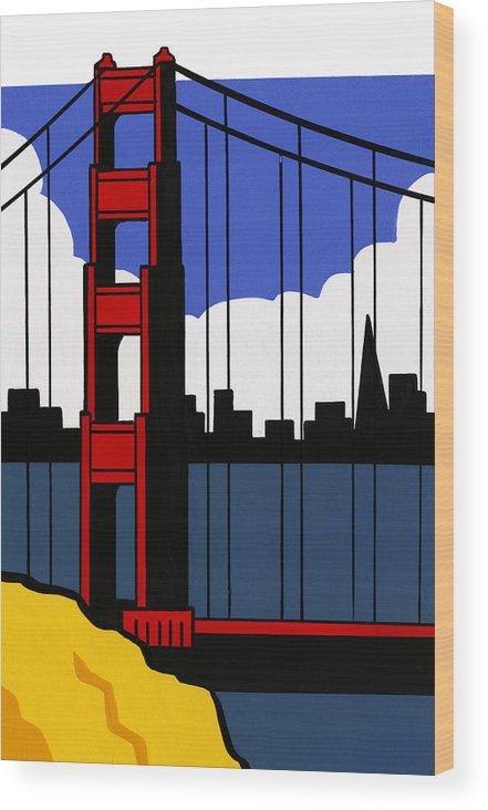 Gouache Wood Print featuring the digital art Golden Gate Bridge, San Francisco by Matt Olson