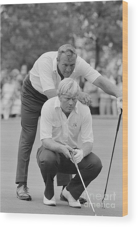 Playoffs Wood Print featuring the photograph Golf Professionals Nicklaus And Palmer by Bettmann