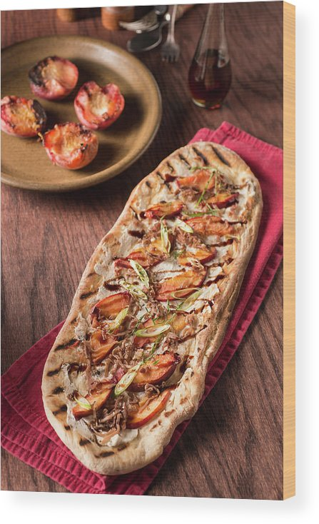 Cheese Wood Print featuring the photograph Gourmet Pizza by Rudisill