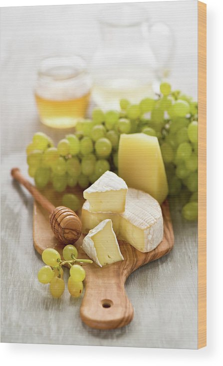 Cheese Wood Print featuring the photograph Grape, Honey And Cheese by Verdina Anna