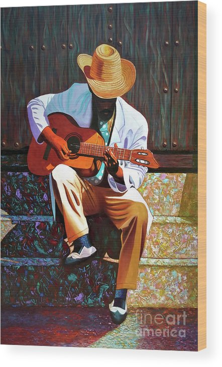 Cuban Wood Print featuring the painting Guitar player #3 by Jose Manuel Abraham