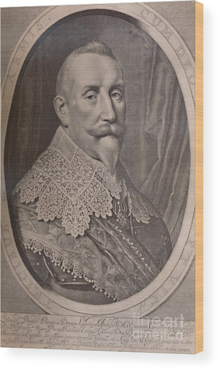 Royalty Wood Print featuring the drawing Gustavus Adolphus King Of Sweden 17th by Print Collector