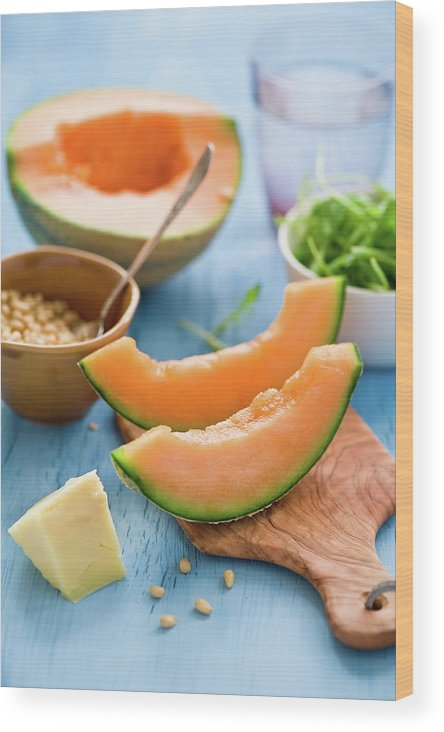 Spoon Wood Print featuring the photograph Ingredients For Melon Salad by Verdina Anna