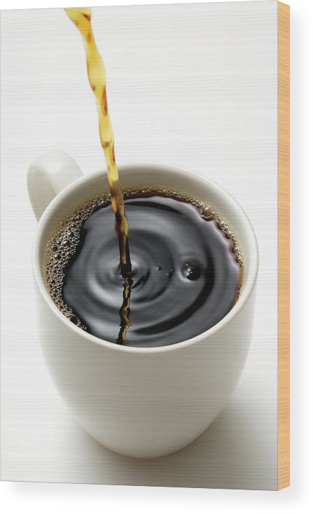 Breakfast Wood Print featuring the photograph Isolated Shot Of Pouring A Fresh Coffee by Kyoshino