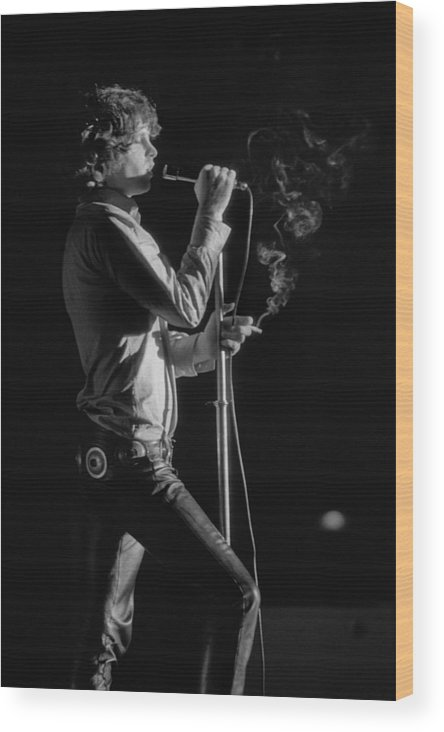 Rock Music Wood Print featuring the photograph Jim Morrison Live by Michael Ochs Archives
