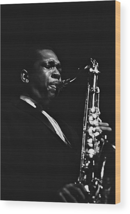 Concert Wood Print featuring the photograph John Coltrane In Paris, France In 1960 - by Herve Gloaguen
