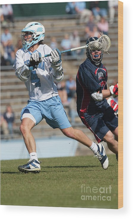 Education Wood Print featuring the photograph Lacrosse - Ncaa - Robert Morris Vs by Icon Sports Wire