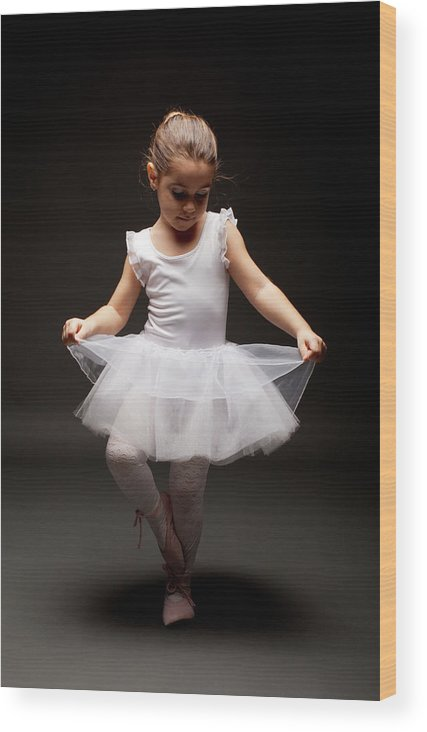 Toddler Wood Print featuring the photograph Little Ballerina by Georgijevic