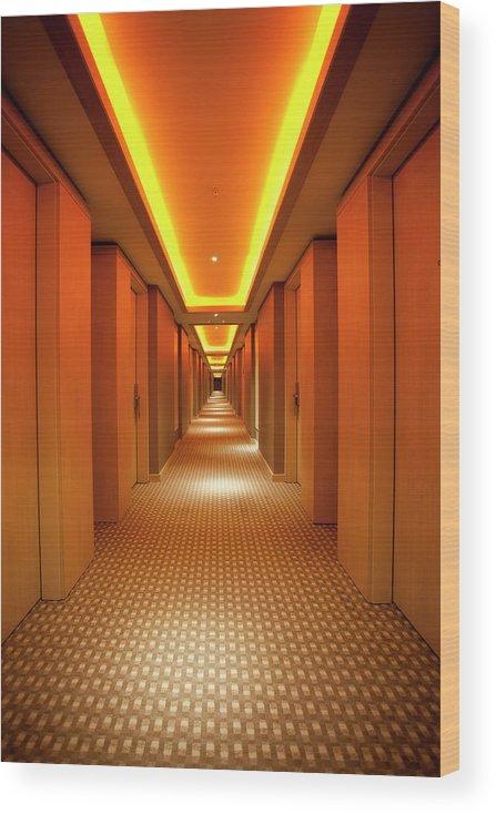 Long Wood Print featuring the photograph Long, Narrow Corridor With Retro Themed by Dogayusufdokdok