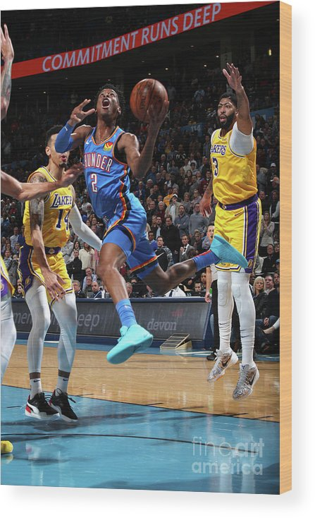 Nba Pro Basketball Wood Print featuring the photograph Los Angeles Lakers Vs Oklahoma City by Zach Beeker