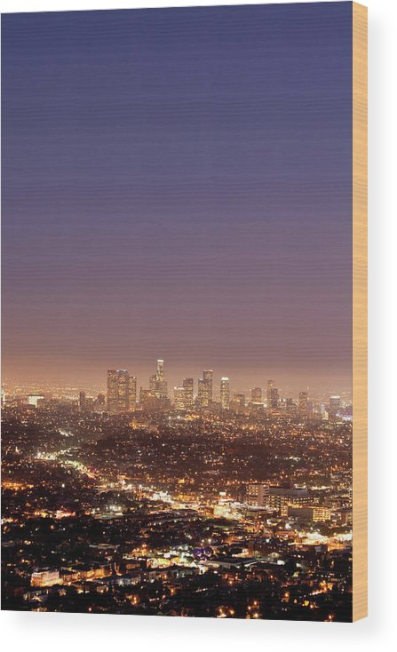Scenics Wood Print featuring the photograph Los Angeles Skyline At Twilight by Uschools