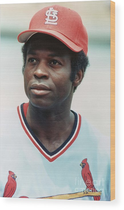 St. Louis Cardinals Wood Print featuring the photograph Lou Brock by Rich Pilling
