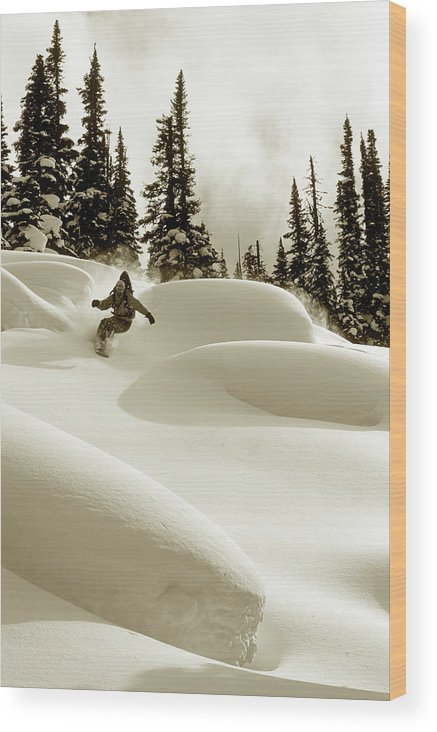 One Man Only Wood Print featuring the photograph Man Snowboarding B&w Sepia Tone by Per Breiehagen