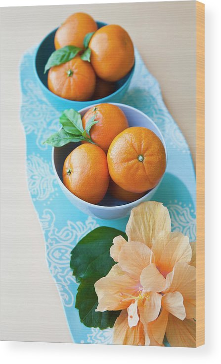 Florida Wood Print featuring the photograph Mandarin Oranges On A Platter by Pam Mclean