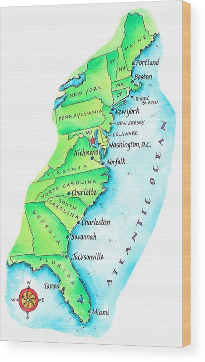 Watercolor Painting Wood Print featuring the digital art Map Of American East Coast by Jennifer Thermes