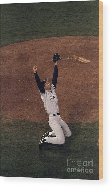 Following Wood Print featuring the photograph Mariano Rivera by Vincent Laforet