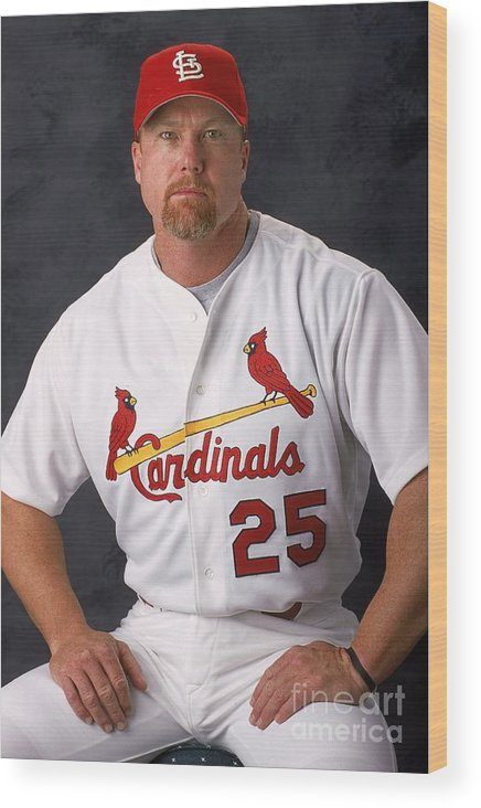 Media Day Wood Print featuring the photograph Mark Mcgwire 25 by Matthew Stockman