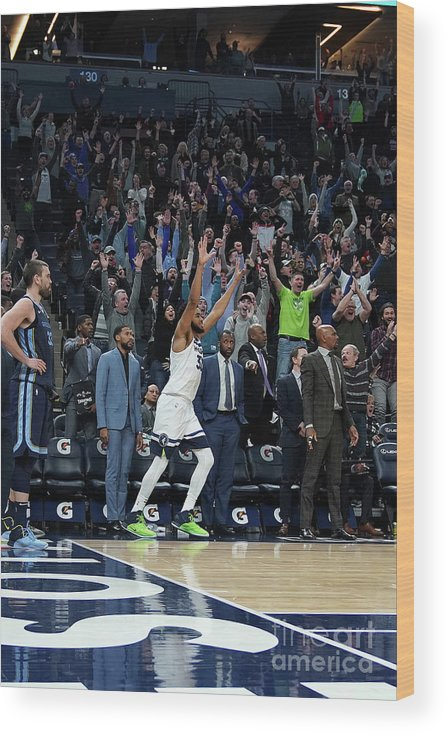 Nba Pro Basketball Wood Print featuring the photograph Memphis Grizzlies V Minnesota by Jordan Johnson