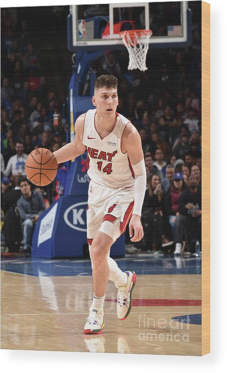 Tyler Herro Wood Print featuring the photograph Miami Heat V Philadelphia 76ers by David Dow